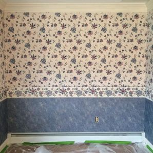 before/ after of a wall paper removal job in Wenonah, NJ